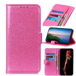 Flash Powder Leather Wallet Casing Cover with Stand for Samsung Galaxy M20 - Pink