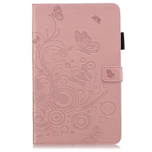 Butterflies Imprint PU Leather Wallet Stand Tablet Cover for Galaxy Tab A 10.1 (2019) SM-T515/ SM-T510 - Pink