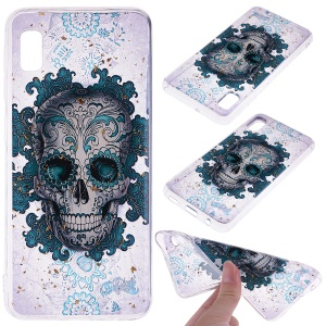 Glitter Sequins Inlaid Style TPU Phone Case for Samsung Galaxy A10e - Skull