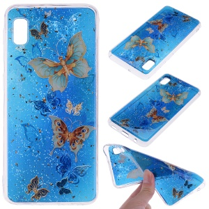 Glitter Sequins Inlaid Style TPU Phone Case for Samsung Galaxy A10e - Butterflies