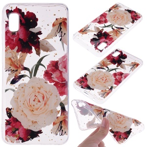 Glitter Sequins Inlaid Style TPU Phone Case for Samsung Galaxy A10e - Pretty Flowers