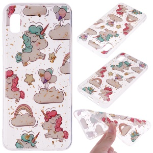 Glitter Sequins Inlaid Style TPU Phone Case for Samsung Galaxy A10e - Unicorns