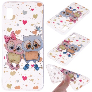 Glitter Sequins Inlaid Style TPU Phone Case for Samsung Galaxy A10e - Owls