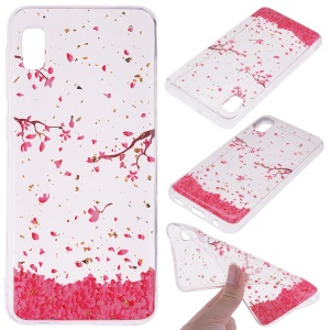 Glitter Sequins Inlaid Style TPU Phone Case for Samsung Galaxy A10e - Falling Flowers