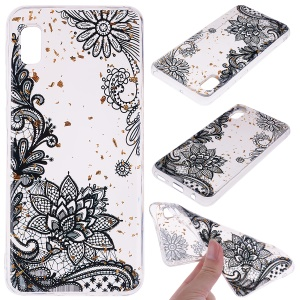 Glitter Sequins Inlaid Style TPU Phone Case for Samsung Galaxy A10e - Black Lace