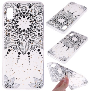 Glitter Sequins Inlaid Style TPU Phone Case for Samsung Galaxy A10e - Black Flower