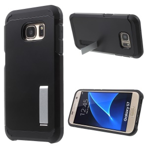 Plastic + TPU Armor Case with Kickstand for Samsung Galaxy S7 G930 - Black