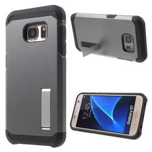 Plastic + TPU Armor Case Kickstand Cover for Samsung Galaxy S7 G930 - Grey