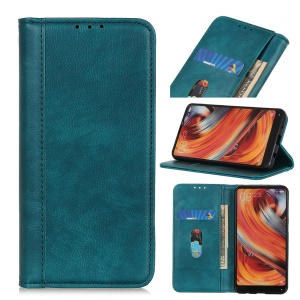 Auto-absorbed Litchi Texture Wallet Stand Flip Leather Phone Case for Samsung Galaxy Note 10 - Green