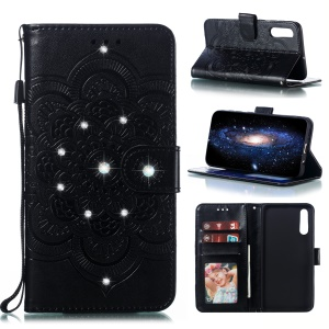 Diamond Imprint Big Flower Leather Phone Cover for Samsung Galaxy A50 - Black