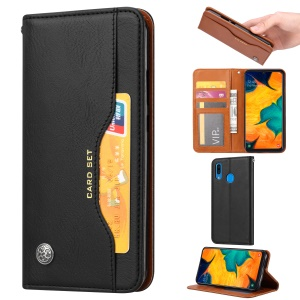 Auto-absorbed Wallet Stand Flip Leather Case for Samsung Galaxy A20e - Black
