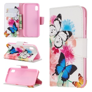 Printing Style PU Leather Flip Stand Phone Case for Samsung Galaxy A20e / A10e - Butterflies and Flowers