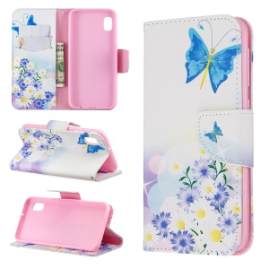 Printing Style PU Leather Flip Stand Phone Case for Samsung Galaxy A20e / A10e - Blue Butterflies