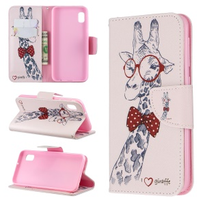 Printing Style PU Leather Flip Stand Phone Case for Samsung Galaxy A20e / A10e - Giraffe Wearing Glasses