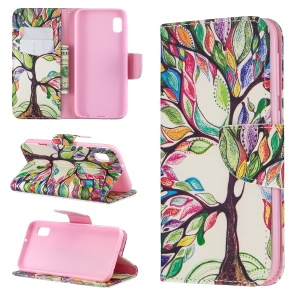 Printing Style PU Leather Flip Stand Phone Case for Samsung Galaxy A20e / A10e - Colorized Tree