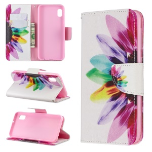 Printing Style PU Leather Flip Stand Phone Case for Samsung Galaxy A20e / A10e - Petals Pattern