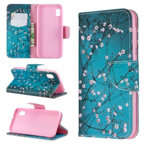Printing Style PU Leather Flip Stand Phone Case for Samsung Galaxy A20e / A10e - Tree with Flowers