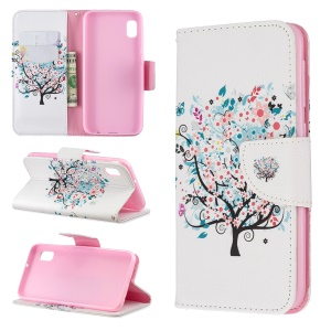 Printing Style PU Leather Flip Stand Phone Case for Samsung Galaxy A20e / A10e - Flowered Tree
