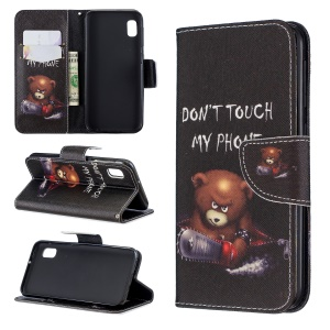 Printing Style PU Leather Flip Stand Phone Case for Samsung Galaxy A20e / A10e - Bear And Its Warnings