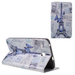 Smart Leather Card Holder Flip Case for Samsung Galaxy Tab E 8.0 T377 - Eiffel Tower and Butterfly