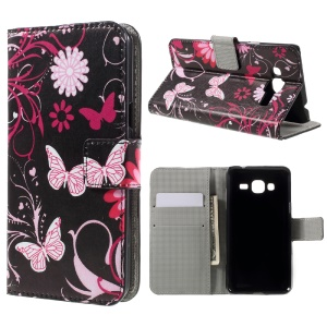 Wallet Leather Stand Case for Samsung Galaxy J3 (2016) / J3 - Butterfly Flowers