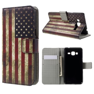 Wallet Leather Stand Cover Case for Samsung Galaxy J3 (2016) / J3 - Retro American Flag