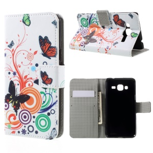 Magnetic Leather Stand Case for Samsung Galaxy J3 (2016) / J3 - Butterfly Circles
