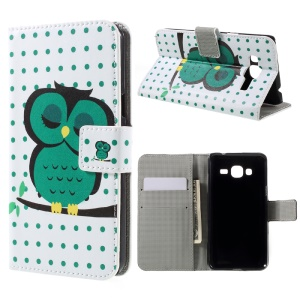 Magnetic Leather Stand Cover for Samsung Galaxy J3 (2016) / J3 - Sleeping Owl on the Branch