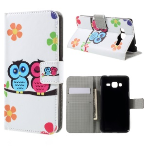 Phone Leather Stand Case for Samsung Galaxy J3 (2016) / J3 - Owls and Flowers