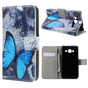 Wallet Leather Phone Case for Samsung Galaxy J3 (2016) / J3 - Blue Butterfly