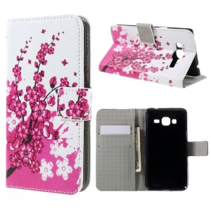 PU Leather Card Holder Cover for Samsung Galaxy J3 (2016) / J3 - Plum Blossom