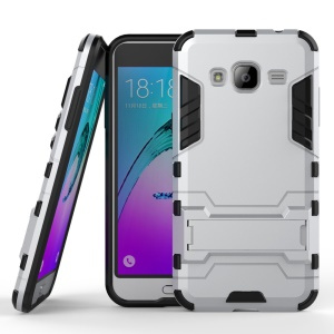 PC TPU Hybrid Case for Samsung Galaxy J3 (2016) / J3 with Kickstand - Silver