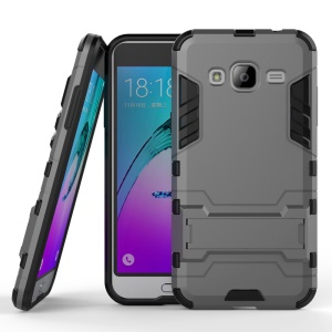 PC TPU Hybrid Shell for Samsung Galaxy J3 (2016) / J3 with Kickstand - Grey