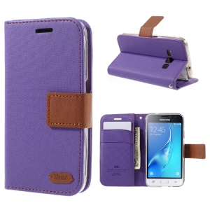 ROAR KOREA Twill Leather Wallet Cover for Samsung Galaxy J1 (2016) - Purple