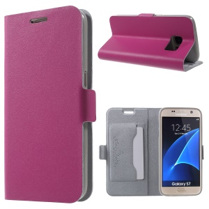 DOORMOON Genuine Leather Card Holder Cover for Samsung Galaxy S7 G930 - Rose