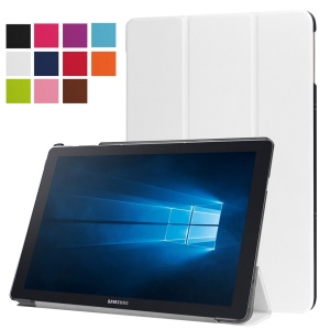 Tri-fold Stand Leather Cover for Samsung Galaxy TabPro S - White