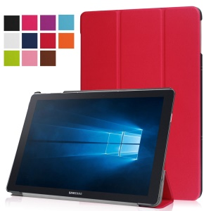 Tri-fold Stand Leather Case Cover for Samsung Galaxy TabPro S - Red