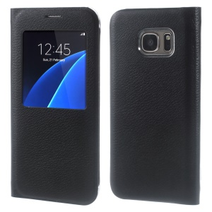 Litchi Grain Window View Leather Case for Samsung Galaxy S7 G930 - Black