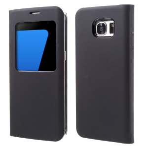 Window View Leather Cover Case for Samsung Galaxy S7 Edge G935 - Black