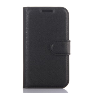 Lychee Skin Wallet Leather Stand Case for Samsung Galaxy J1 Nxt - Black