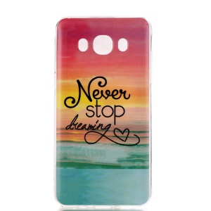 Soft IMD TPU Case Cover for Samsung Galaxy J7 (2016) - Quote Never Stop Dreaming