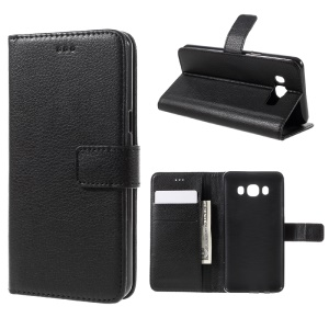 Litchi Texture Wallet Stand Leather Case for Samsung Galaxy J5 (2016) - Black