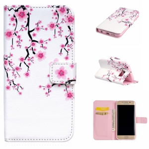 Embossing Leather Phone Cover for Samsung Galaxy S6 Edge G925 - Plum Blossom