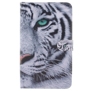 Patterned Wallet Leather Flip Case for Samsung Galaxy Tab E 8.0 T377 T375 - Tiger Head