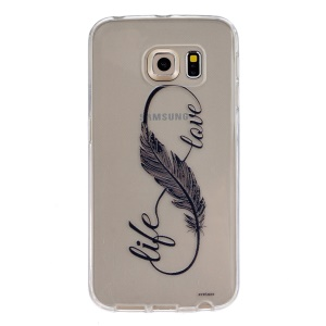 Embossment TPU Phone Case for Samsung Galaxy S6 Edge G925 - Life Love Infinity Feather