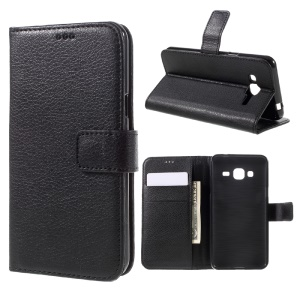 Litchi Grain Leather Flip Case Wallet Cover for Samsung Galaxy J3 (2016) / J3 - Black