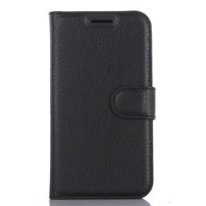 Litchi Skin Leather Wallet Case for Samsung Galaxy J1 (2016) - Black