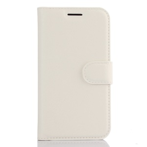 Litchi Skin Leather Wallet Cover for Samsung Galaxy J1 (2016) - White