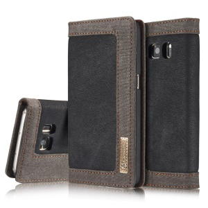 CASEME Canvas Skin Leather Wallet Cover for Samsung Galaxy S7 G930 - Black