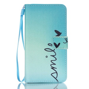Patterned Leather Wallet Stand Cover for Samsung Galaxy J5 (2016) - Calligraphy and Hearts
